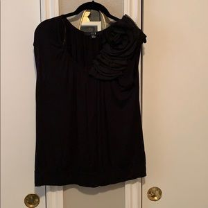 Black blouse with flower detail